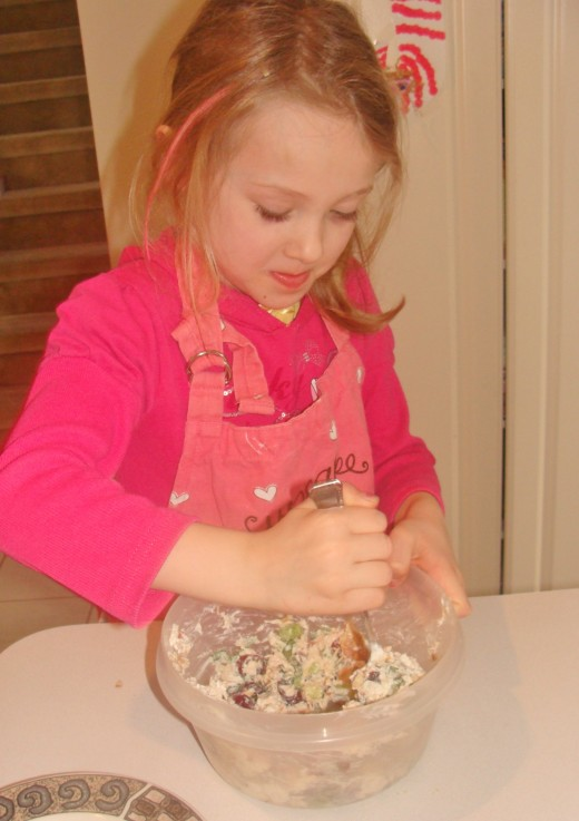 Once the yogurt is added, mix it up until all ingredients are combined.