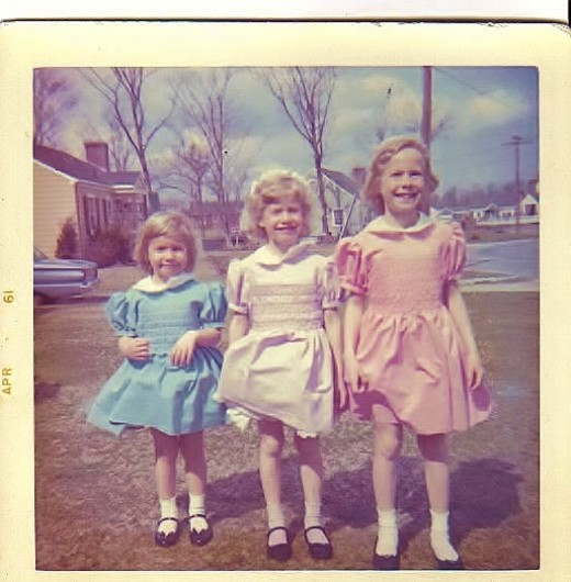 My Sisters and I in Nana's Hand Smocked Easter Dresses