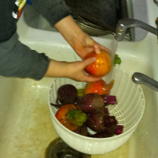 Wash beets thoroughly under cool running water.