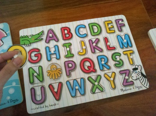 Bright and colorful wooden alphabet puzzle