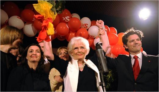 Prime Minister of Iceland Jóhanna Sigurdardóttir celebrating her victory over Steingrímur J. Sigfússon.
