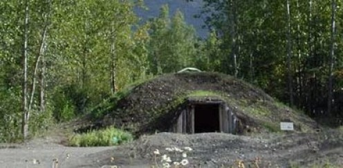 A qasgiq, a house built of sods dug deep into the tundra and reserved only for the men.  Young boys learned their ancestral ways and bonded with other male tribe members in these huts.