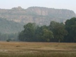 View of Bandhavgarh Fort on the mountain