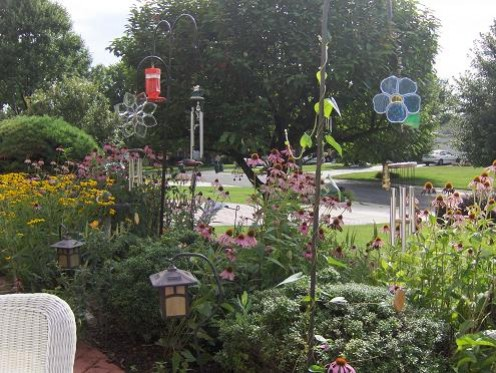 This is a still of the garden by the sidewalk