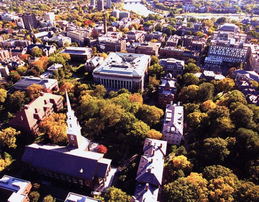 Aerial view above Harvard's central campus