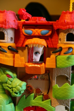 Doll houses (or, in this case, Dragon Castles) allow children to practice their language skills with miniature pretend people.