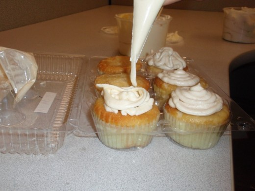 Piping Frosting onto a Cupcake