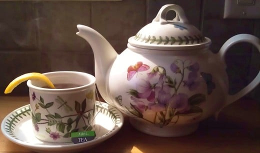 I do use a teapot even if it's just me -tea egg packed with mint, crush the mint up with your fingers, hot water, let it sit,  Once I have my hot cup, I let the tea cool, and save it for iced tea.