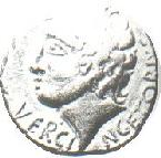 This coin depicts the leader of the Gauls, Vercingetorix.