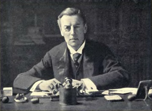 Joseph Chamberlain at his desk in the Colonial Office