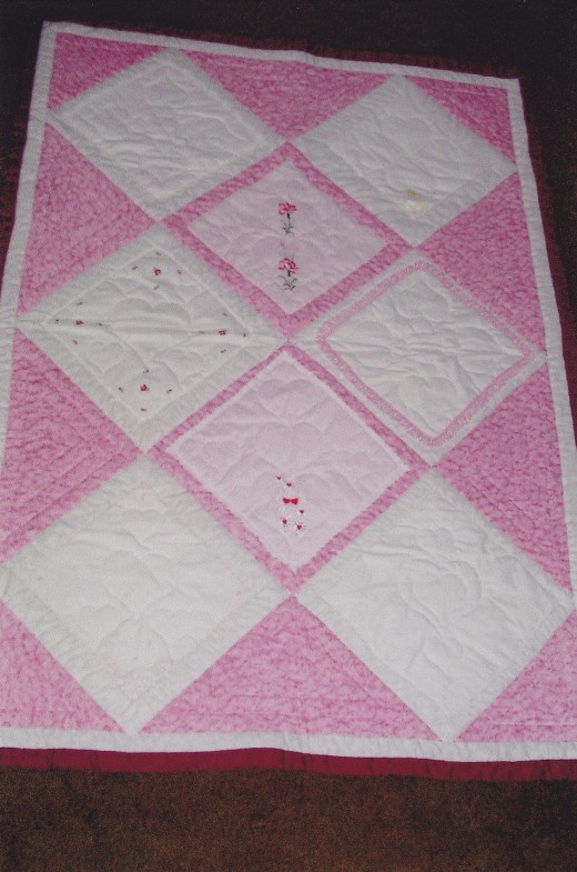 My mother's handkerchiefs on display