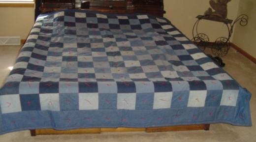 Quilt made from old jeans