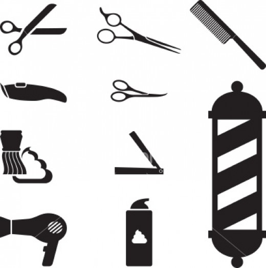 Various Scizzors, Combs, Brushes, Straight Edge Razor, Foam, Electric Shaver, Etc.