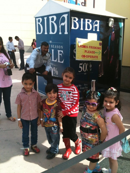 Kids standing at the entrance of Adventure Island Rohini, New Delhi