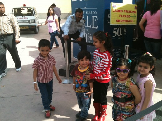 Kids posing before enjoying their rides at Adventure Island and Metro Walk Mall Rohini.