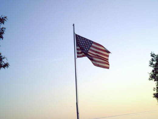 American Flag flying on Lake Ontario