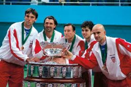 Goran with teammates at the 2005 Davis Cup in Bratislava, Slovakia.