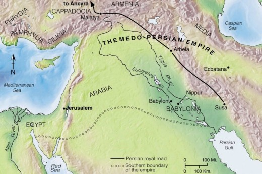 Map of ancient Persian empire