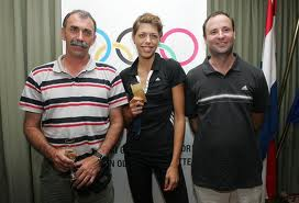 Blanka with her famous coach - father, Josko, on the left.  He is an athlete in his own right, holding both gold and bronze medals in the decathalon.