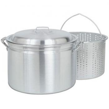 Bayou Classic 24 qt Aluminum Fryer/Steamer w/ Lid & Small Holed Basket