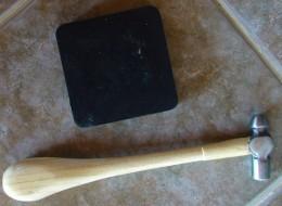Rubber bench block and ball-peen hammer