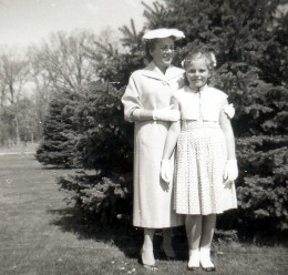 My mother & me in Wisconsin dressed for attending church.