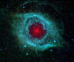 This infrared image from NASA's Spitzer Space Telescope shows the Helix Nebula