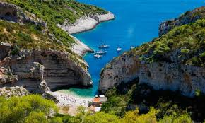 Stiniva Cove, located on the island of Vis in Croatia.