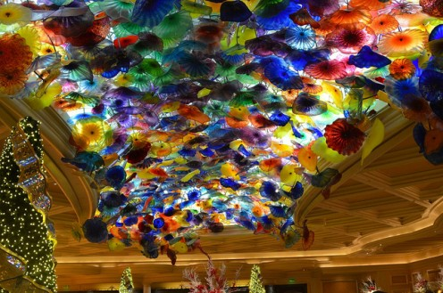 Dale Chihuly sculpture on the lobby ceiling.