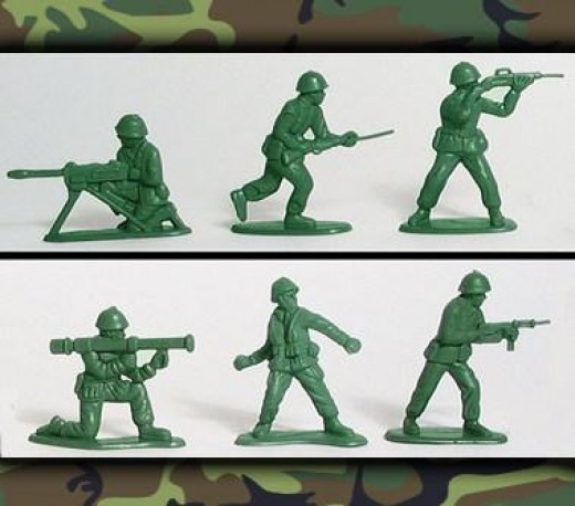 Little green army men--topping for military cake.