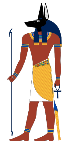 The Egyptian god Anubis (a modern rendition inspired by New Kingdom tomb paintings)