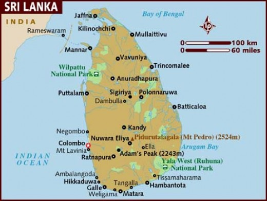 Political map of Sri Lanka