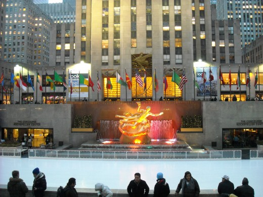 In the winter, the plaza is an enormous ice skating rink.  During the summer, it is an outdoor cafe.