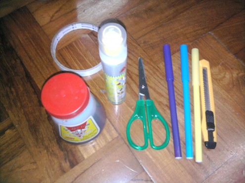 Glue, scissors, markers, penknife