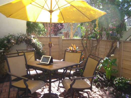 Working on my patio with my iPad.