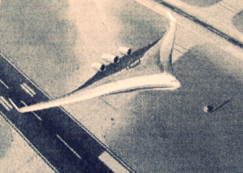 """- A top view presumably via """"Flight-Sim"""" software depicting the elusive, fictional or yet to be independently confirmed as real, """"Boeing 797"""" Commercial Passenger Transport - The image is at least 4th generation, hence a slightly animated feel -"""
