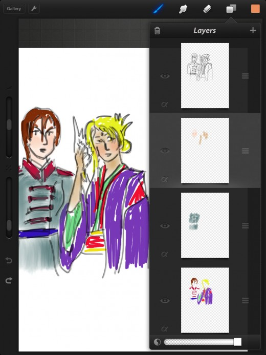 Procreate screencap. Here you can see how useful layers are for not screwing up lines with coloring. (Gamer geeks may recognize these two brainy women from Suikoden.)