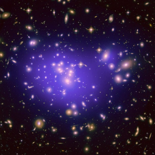 Dark matter cannot be photographed but can be observed by its gravitational effects on galaxies and galaxy clusters. The blue overlay is used to show dark matter distribution which is then used to understand dark energy.