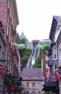 Cable car in Old Quebec City. Year of the 400th Anniversary.