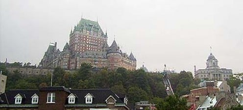 A view of Quebec City, including the Chateau Frontenac and funicular, taken from the Levis ferry.