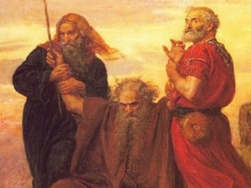 Aaron and Hur support Moses as he intercedes for the Israelites in battle with the Amalekites.