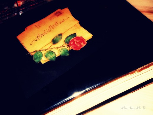 This is my album of Love Letters. Its cover is made of thick vinyl and a clear plastic covering is added for a longer lasting protection.