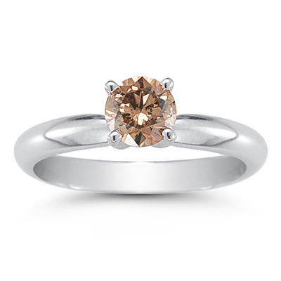 A half carat four prong brown diamond ring