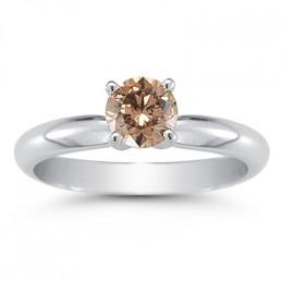 A half carat four prong brown diamond ring