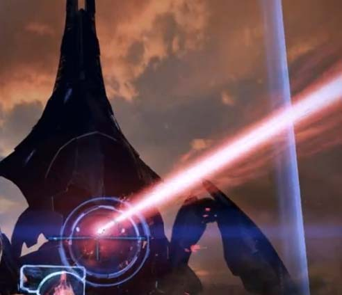 Avoid the red laser beam from the reaper eye and focus the laser beam's blue lights towards the reaper eye to defeat the reaper on Rannoch