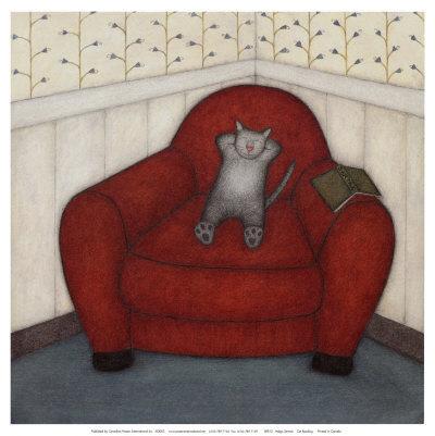 Cat Reading - Helga Sermat