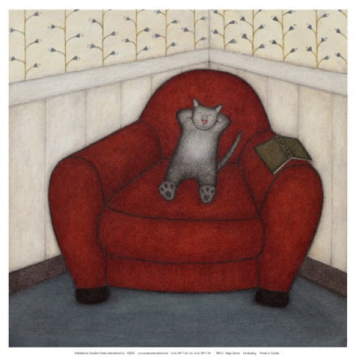 Cat Reading - Helga Sermat