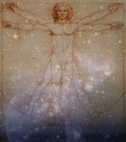 Da Vinci's Vitruvian Man against a star field and nebula. Da Vinci drawing courtesy Wikipedia.org. Star field courtesy NASA. Public domain.