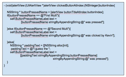 Figure 4 - Code for clickedButtonAtIndex to detect which button is pressed