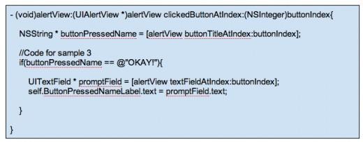 Figure 11 - Code To Get UITextField Input